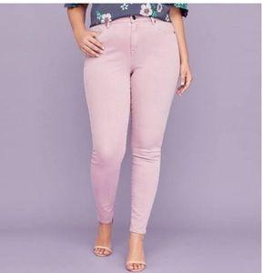 Lane Bryant 🔸mid rise stretch skinny pink jeans